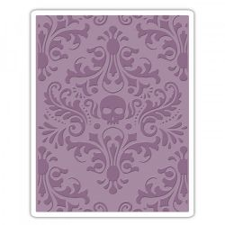 662390 Sizzix Texture Fades Embossing Folder - Skull Damask By Tim Holtz
